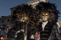 Black feathered mask at the Carnival in Venice 2019