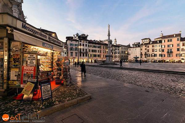 Udine, Italy, Piazza San Giaccomo, newspaper stand