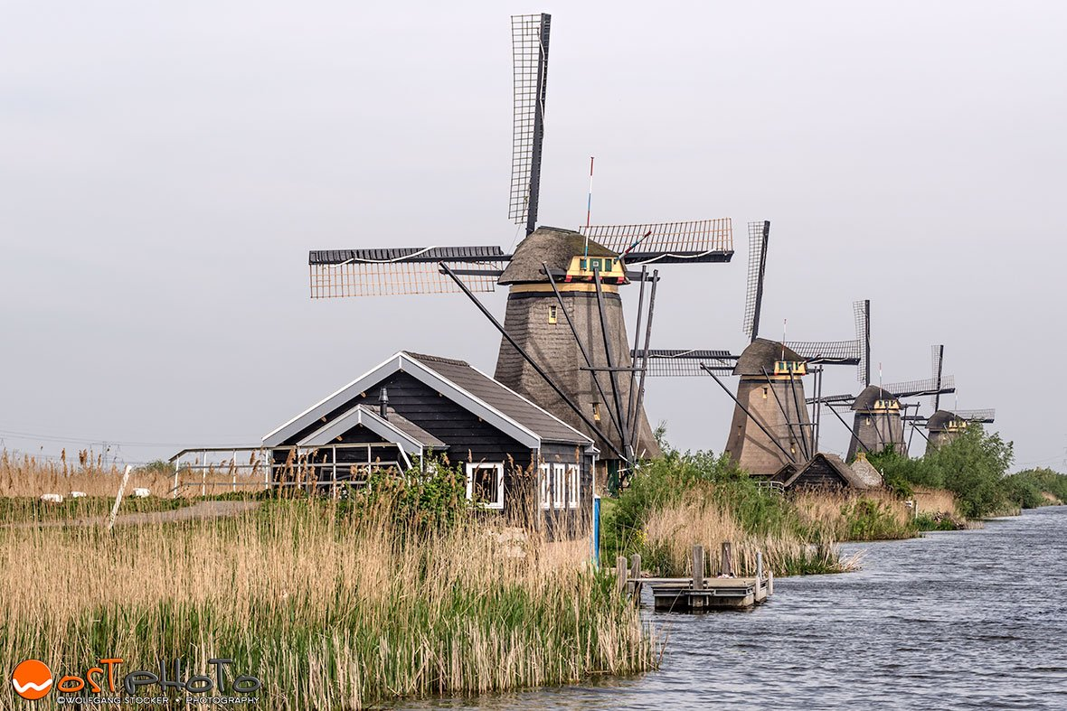 Beautiful 280-year-old windmills in Kinderdijk in the Netherlands