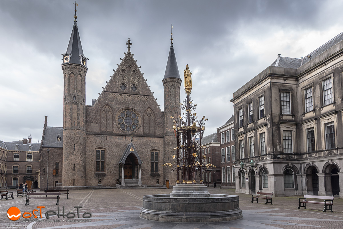 The Binnenhof with the Hall of Knights in the Hague in the Netherlands